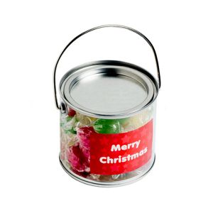 Medium PVC Bucket Filled With Christmas Twist Wrapped Boiled Lollies 300G