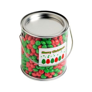 Big PVC Bucket Filled with Christmas Chewy Fruits (Skittle Look Alike) 950g