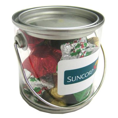 Small PVC Bucket Filled with Christmas Chocolates 100G