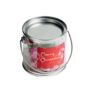 Small PVC Bucket Filled With Christmas Twist Wrapped Boiled Lollies 120G