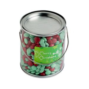 Big PVC Bucket Filled With Christmas Choc Beans 875G
