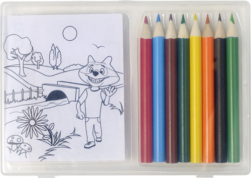 Set of colouring pencils and colouring sheets