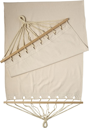 Polyster canvas hammock with wooden rims
